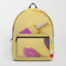 Ice Cream Lollipops on a Bright Yellow Background Backpack