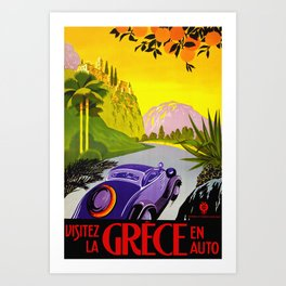 Visit Greece in Auto Travel Art Print