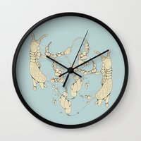 bugs Wall Clocks featuring Bugs by Sushibird