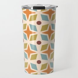 Mid Century Modern Abstract Star Dot Pattern 441 Orange Brown Blue Olive Green Travel Mug