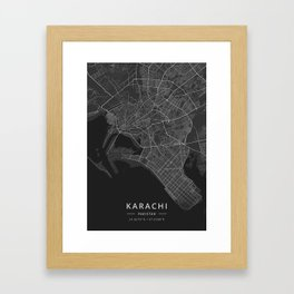 Karachi, Pakistan - Dark Map Framed Art Print