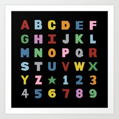Alphabet on Black Art Print