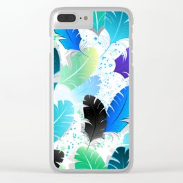 Seamless Pattern with Blue Feathers Clear iPhone Case