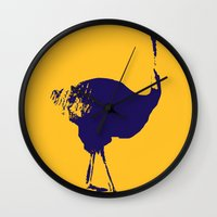 ostrich Wall Clocks featuring Ostrich by Auberginette