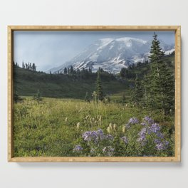 Wildflowers and Mount Rainier Serving Tray