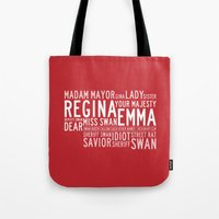 swan queen Tote Bags featuring Swan Queen Nicknames - Red (OUAT) by CLM Design