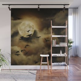 Crows Fly Towrads The Moody Moon's Glow Wall Mural