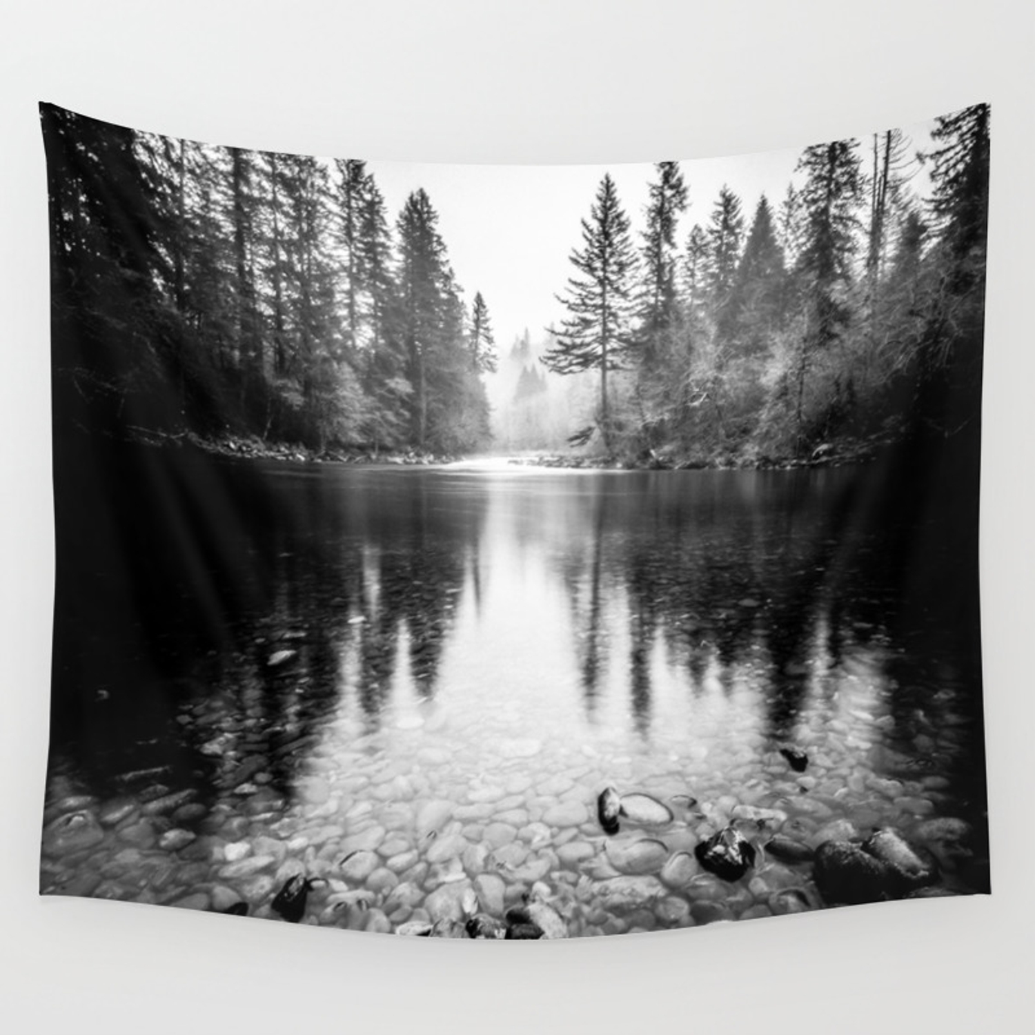 Forest reflection lake black and white nature photography wall tapestry