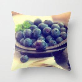 Blueberry plate Throw Pillow