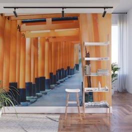 The Orange Torii Gates at Fushimi Inari Taisha, Kyoto Wall Mural