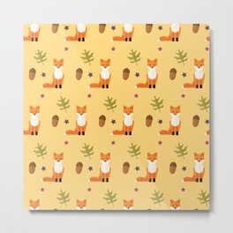Foxes and acorns on yellow Metal Print