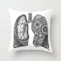 lungs Throw Pillows featuring Lungs by ericajc