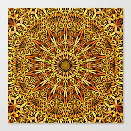 Floral Autumn Garden Mandala Canvas Print