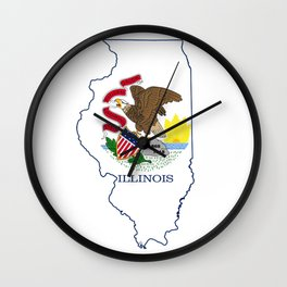 Illinois Map with Illinois State Flag Wall Clock