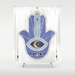Hamsa Hand in Blue Shower Curtain