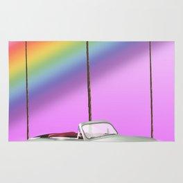 hawaiian rainbow travel poster print. Rug
