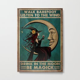 Black Hat Black Hat Drink In The Moon Metal Print