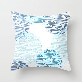 Denim Discoid Throw Pillow