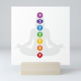Chakra Symbols Woman Silhouette Mini Art Print