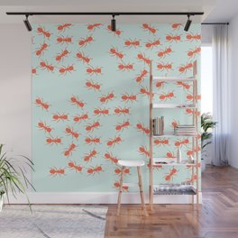 Cute Ants Pattern in blue and red Wall Mural