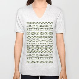 Abstract Andes Tribal Aztec Green Camo Pattern Unisex V-Neck
