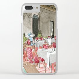 Boca Raton Cafe/ A Woman In A Cafe/ A Woman Is Alone/ A Cafe In Boca Raton Clear iPhone Case