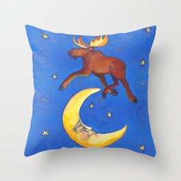 The Moose Jumped Over the Moon by Cindy Shake Throw Pillow