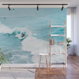 Wave Surfer Turquoise Wall Mural
