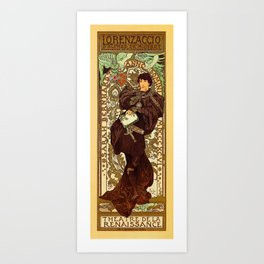 Vintage Alphonse Mucha Lorenzaccio vertical banner Art Print