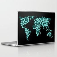 polkadot Laptop & iPad Skins featuring World Map - Polkadot Atlas (Cyan) by Rothko