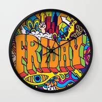friday Wall Clocks featuring Friday by Roberlan Borges