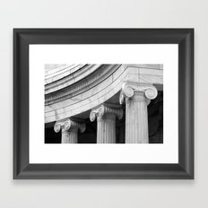 Classical marble columns in black and white Framed Art Print
