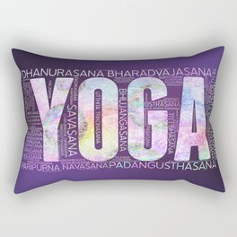 Yoga Asanas  Word Art  on Purple Rectangular Pillow