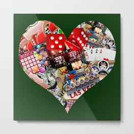 Heart Playing Card Shape - Las Vegas Icons Metal Print