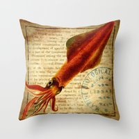 squid Throw Pillows featuring Squid by NeverlandDream