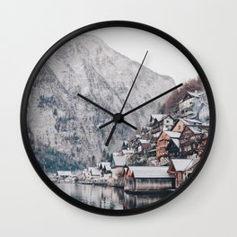 VILLAGE - COAST - MOUNTAINS - SNOW - PHOTOGRAPHY Wall Clock