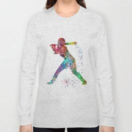 Baseball Softball Player Sports Art Print Watercolor Print Girl's softball Long Sleeve T-shirt