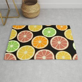 Citrus Fruit Slices, Oranges, Limes, Lemons Rug