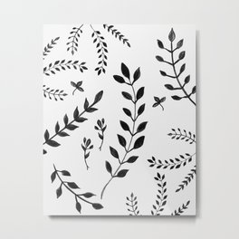 Black & White Leaves Pattern #4 #drawing #decor #art #society6 Metal Print