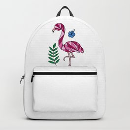 Geometric Flamingo and Hibiscus Flower Backpack