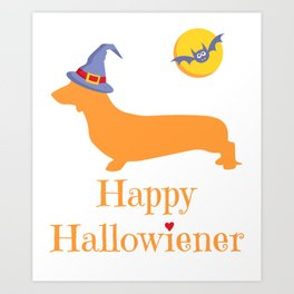 Funny Halloween Design with Dachshund or Wiener Dog - Great Gift for Dog Lovers Art Print