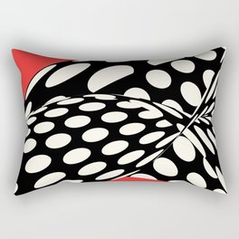 Wavy Dots on Red Rectangular Pillow