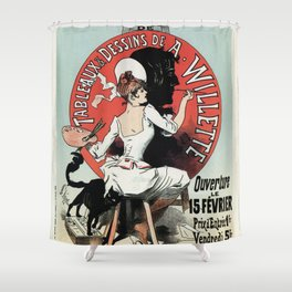 1894 Paris Art Exposition Willette Shower Curtain