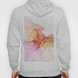 Peach Bellini Abstract Ink Painting Hoody