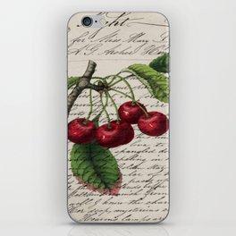 shabby elegance french country botanical illustration vintage red cherry iPhone Skin