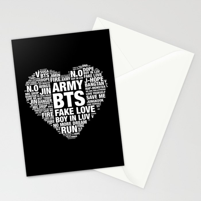 BTS ARMY Fan Art : Typography Stationery Cards