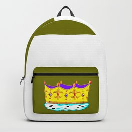 A Royal Crown with a Green Background Backpack