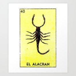 El Alacran Mexican Loteria Bingo Card Art Print