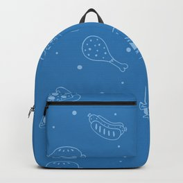 Fast Food Snacks Attack - Pizza Pie Hot Dogs Chicken Wings! on Blue Backpack