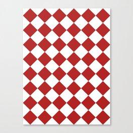 Large Diamonds - White and Firebrick Red Canvas Print